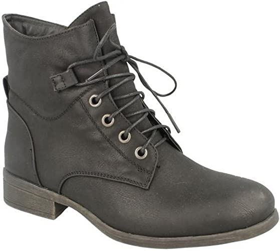 Ladies F50480  Synthetic lace up//zip up  Ankle boot By Spot on SALE £19.99