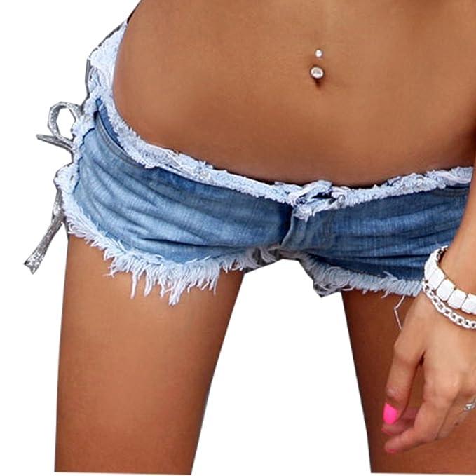 f9825aa50b2f Cresay Women Sexy Cut Off Low Waist Denim Jeans Shorts Mini Hot Pants:  Amazon.in: Clothing & Accessories