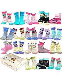 TeeHee (Naartjie) Kids Girls Fashion Cotton Fun Crew 18 Pair Pack Gift Box