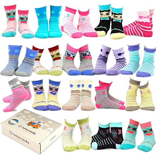 TeeHee Kids Girls Fashion Cotton Fun Crew 18 Pair Pack Gift Box (3-5Y, Butterfly and Owl)
