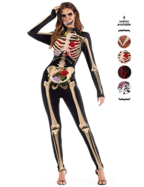 7997da8d32b Amazon.com  Amiliashp Halloween Costume Bodysuit Skeleton Bone 3D Print Long  Sleeve Cosplay Jumpsuit Overall Catsuit Unitard Tights Women  Clothing