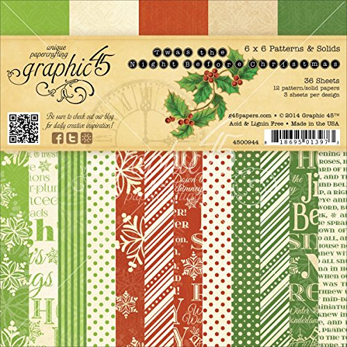 Graphic 45 Twas The Night Before Christmas Paper Pad 6 by 6-Inch
