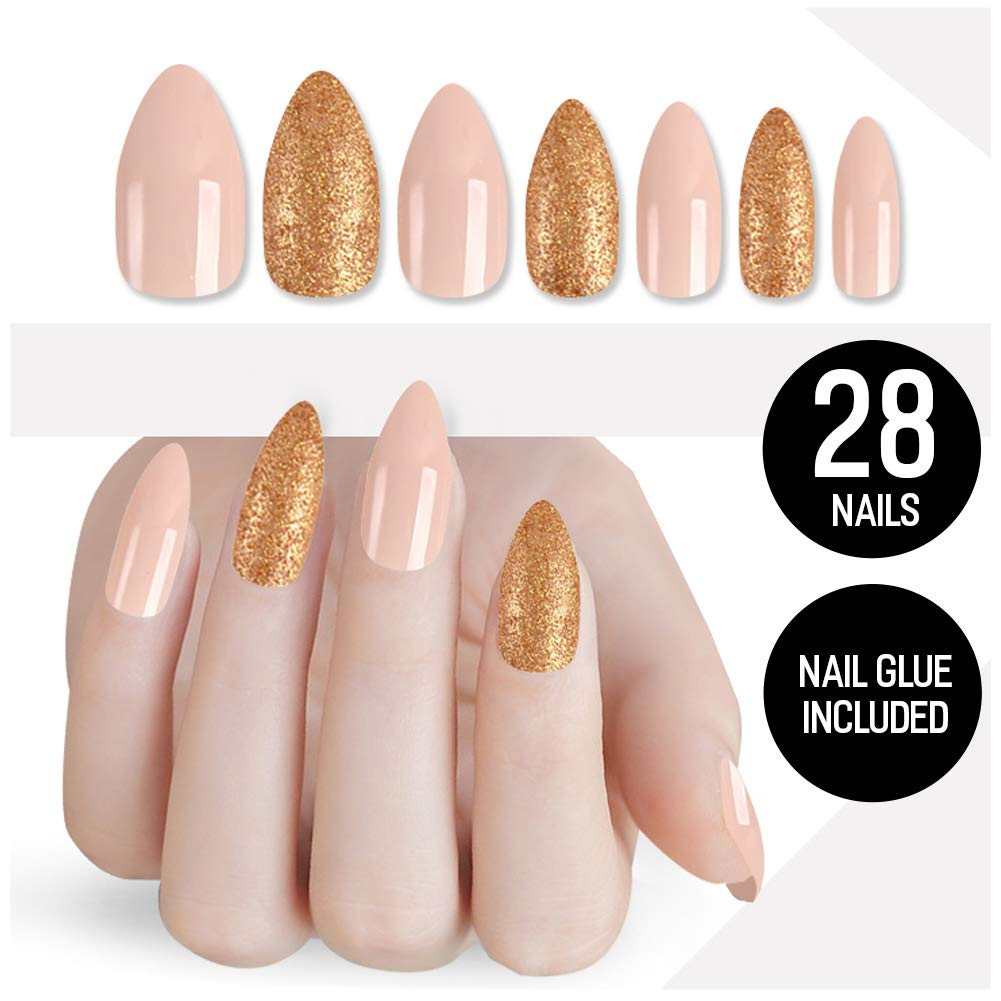 Tip Beauty Gold Nude Fake Nail Kit, Birthday Suit, Faux Nails for Women, Fake Nails for Kids, Glue on Nails, Instant Nails for Ladies, False Nails with Glue - MSRP $18