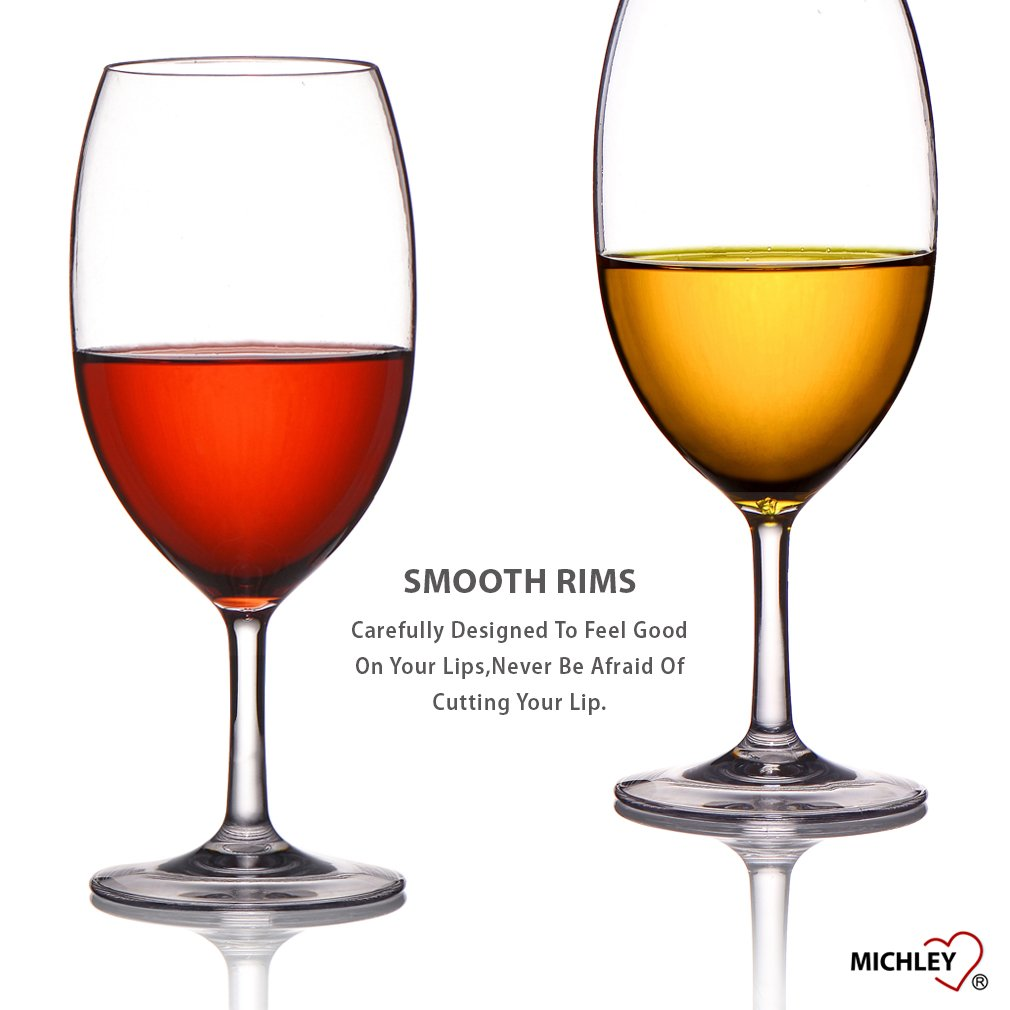 MICHLEY Unbreakable Wine Glasses, 100% Tritan Plastic Shatterproof Wine Glasses, BPA-free, Dishwasher-safe 20 oz, Set of 4 by MICHLEY (Image #8)