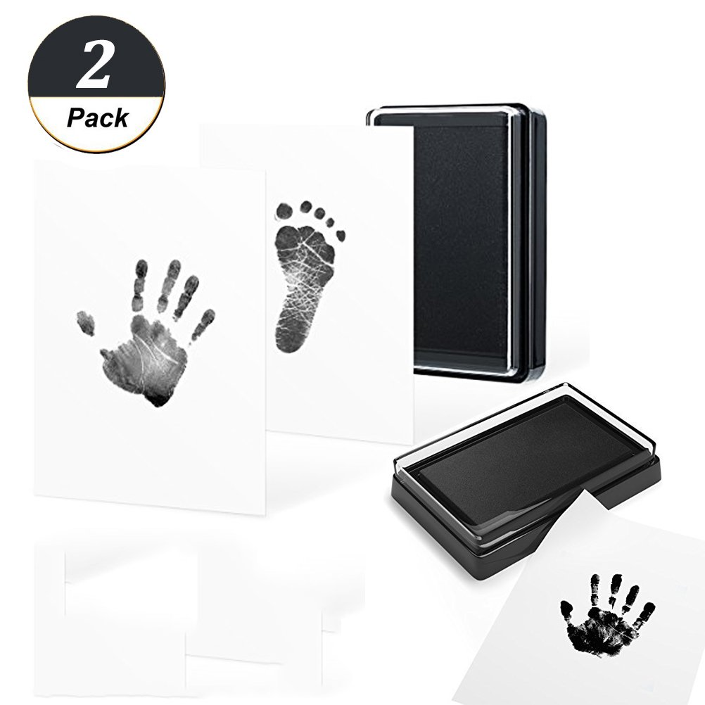 2 Set Baby Clean Touch Handprint and Footprint Kit | Each Set Includes 1 Ink Pad and 2 Imprint Cards | Inkless Glassleaves