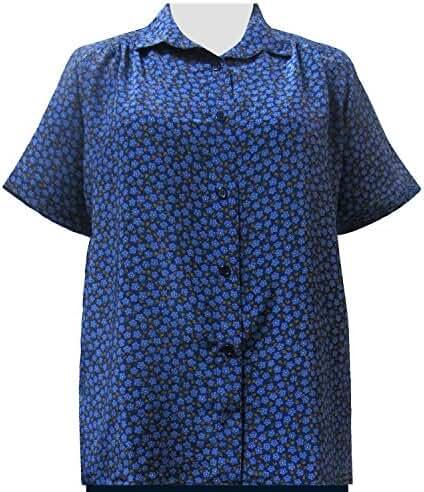 A Personal Touch Blue Edina Button Down Women's Plus Size Blouse