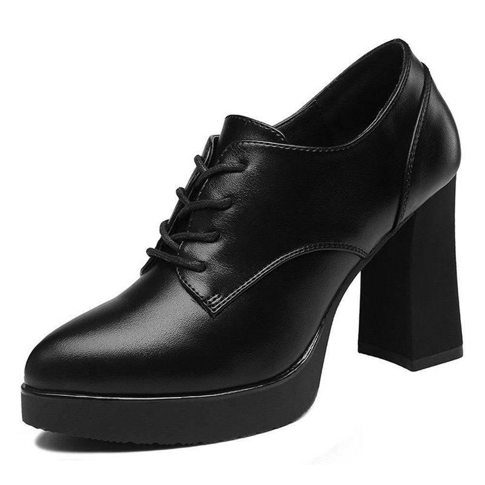 U-MAC Women's High Heel Platform Pumps Pointy Toe Lace up Chunky Bootie Comfortable Walking Shoes