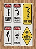 Ambesonne Zombie Area Rug, Warning Signs for Evil Creatures Paranormal Construction Design Do Not Open Artwork, Flat Woven Accent Rug for Living Room Bedroom Dining Room, 4 X 5.7 FT, Multicolor