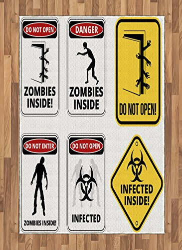 Ambesonne Zombie Area Rug, Warning Signs for Evil Creatures Paranormal Construction Design Do Not Open Artwork, Flat Woven Accent Rug for Living Room Bedroom Dining Room, 4 X 5.7 FT, Multicolor by Ambesonne