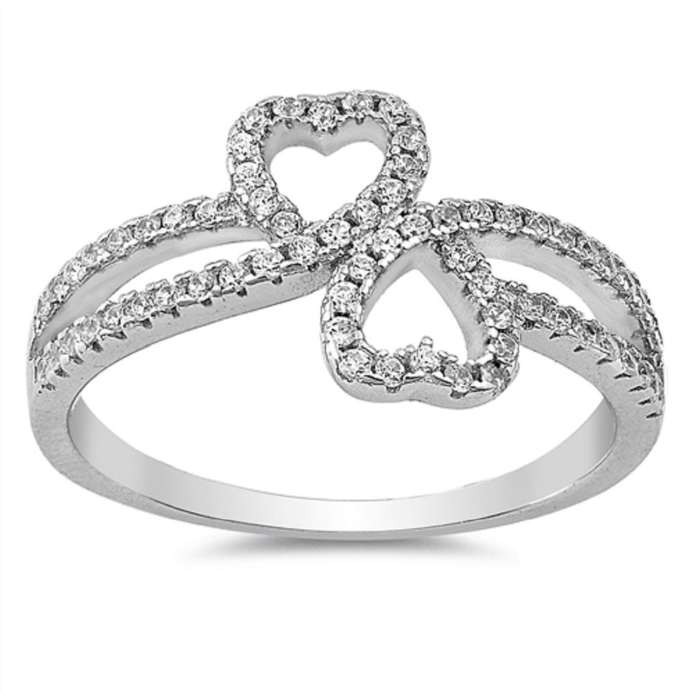 CloseoutWarehouse Cubic Zirconia Double Hearts Ring Sterling Silver Size 4