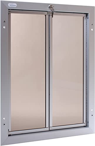 PlexiDor Performance Pet Doors for Dogs and Cats – Door Mount Dog Door with Lock and Key – Silver, Multiple Sizes