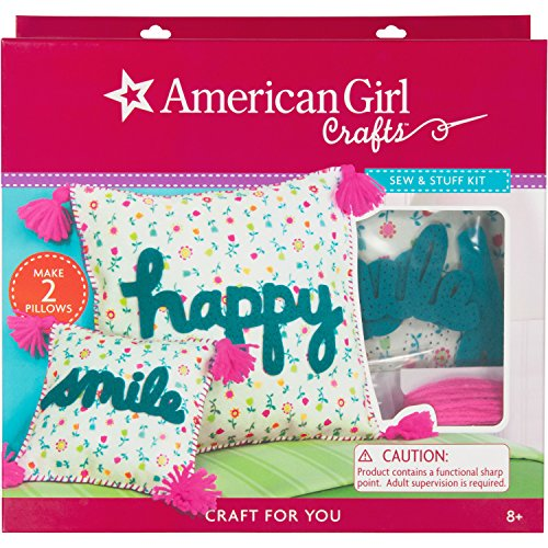 "American Girl Crafts Sew and Stuff DIY Pillow Kit, 12"" W x 12"" H and 6.5"" W x 6.5"" H"