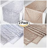 Zdada 2 Set Of 12 by 65-Inch Silver Sequin Table Runner and Champagne Sparkly Table Linens For Wedding