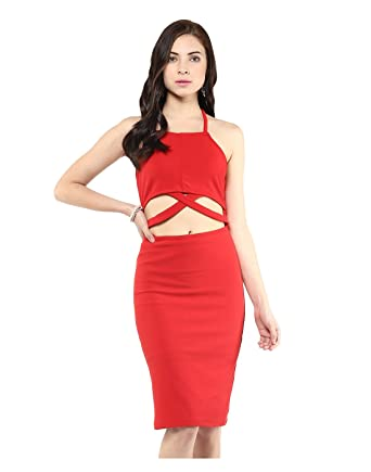 6a3aed1eba47 Image Unavailable. Image not available for. Color  Yepme Cut-Out Bodycon  Dress - Red ...