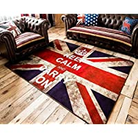 LELVA Very Large Buckingham Great Britain Flag Union Jack Design Retro Style Rugs Non-slip Bedroom Living Room Mats (Rectangle, 100cm x 200cm)