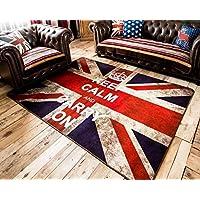 LELVA Very Large Buckingham Great Britain Flag Union Jack Design Retro Style Rugs Non-slip Bedroom Living Room Mats (Rectangle, 100cm x 200cm)