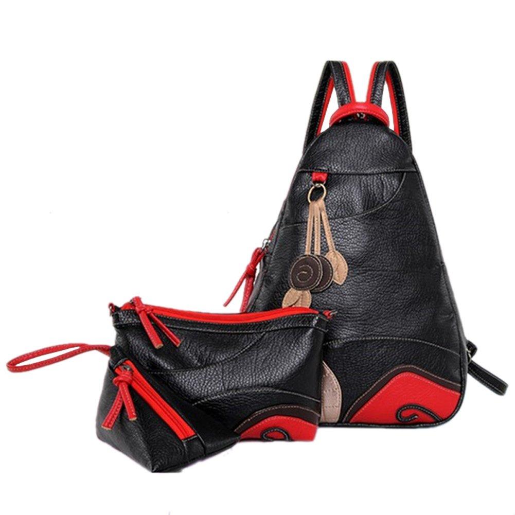 SK Studio Women's 3 Piece PU Leather Shoulder Bag Handbag Backpack Black