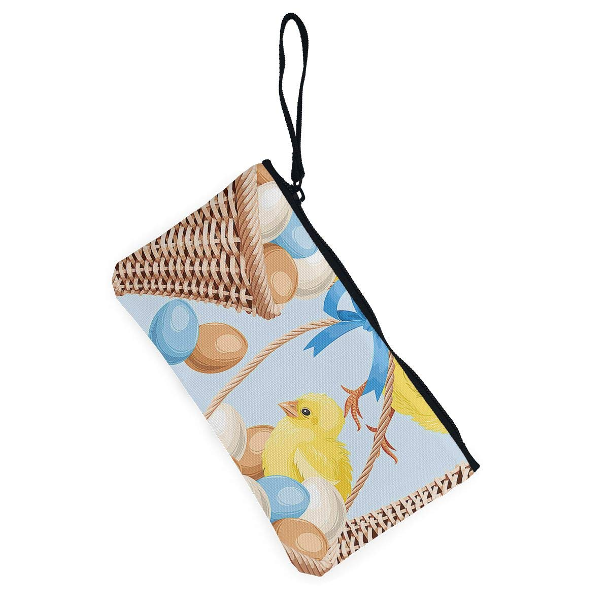 Maple Memories Easter Basket Chicken Eggs Portable Canvas Coin Purse Change Purse Pouch Mini Wallet Gifts For Women Girls
