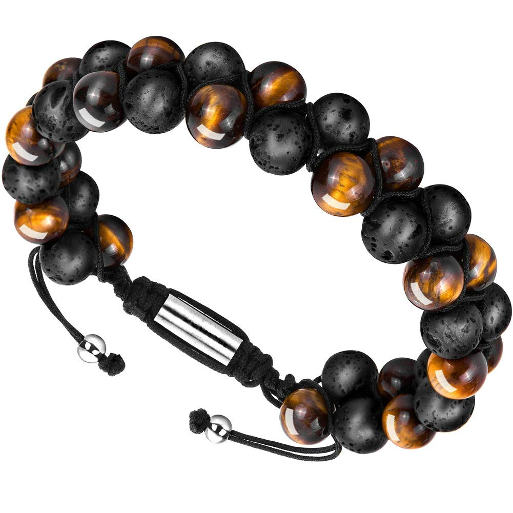Depot Tresor Men's Bracelet Adjustable - Diffuser Bracelet Lava Rock Essential Oil Bracelet for Men's Gift (Black and Yellow)