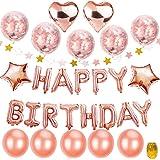 """Geburtstagsdeko Mädchen Rosegold, TopDeko Hen Party Deko mit 16"""" Happy Birthday Banner, 25Pcs 12"""" Ballons und 4Pcs 18 """" Folie Sterne Herz Ballons mit Goldenen String für Partyzubehör (Birthday)"""