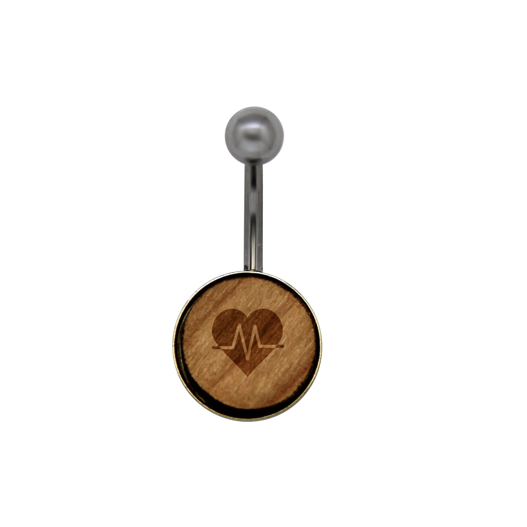 Heartbeat Love Surgical Stainless Steel Belly Button Rings - Size 14 Gauge Wooden Navel Ring - Rustic Wood Navel Ring with Laser Engraved Design