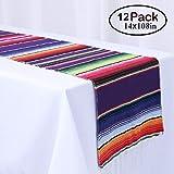 Humorous.P メキシカンテーブルランナー 14インチ×108インチ フリンジ コットン テーブルランナー メキシカンパーティーやトライバルパーティー用 12枚パック