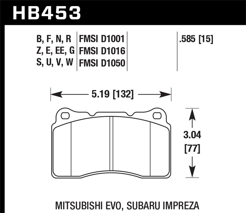 Hawk Performance Hb453z585 Ceramic Brake 67 Camaro Rs Wiring Diagram Limit Switch Pad Automotive