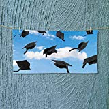 Nalahome Lightweight Towel Thrown into Sky Last of The School Highschool College Ceremony Picture Blue Black for Home, Hotel and Spa L39.4 x W9.8 inch