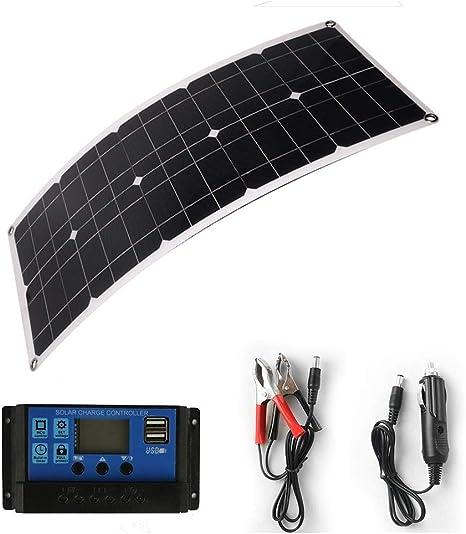 CHUJI 50W Panel Solar Cargador de batería Impermeable ...