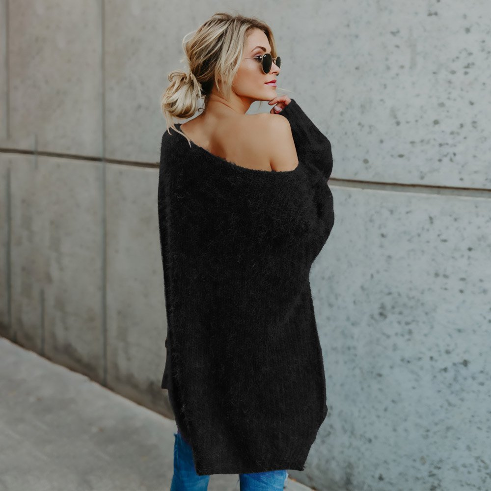 HOMEBABY Ladies Winter Off Shoulder Sweaters for Women Sale Long Sleeve Chunky Knitted Jumper Long Sweatshirt Warm Pullover Tops Blouse