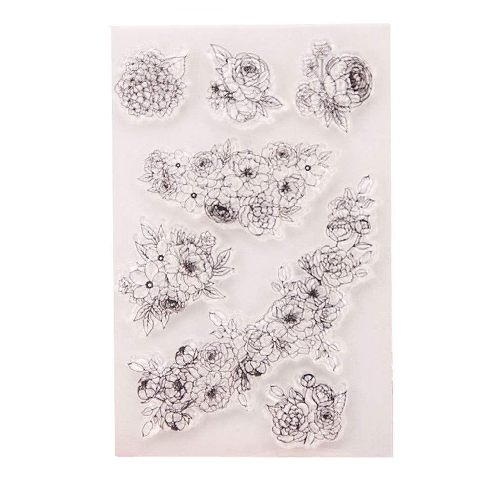 DIY Beautiful Flowers Leaves Floral Stamp Rubber Clear Stamp/Seal Scrapbook Decorative Card Making Clear Stamps