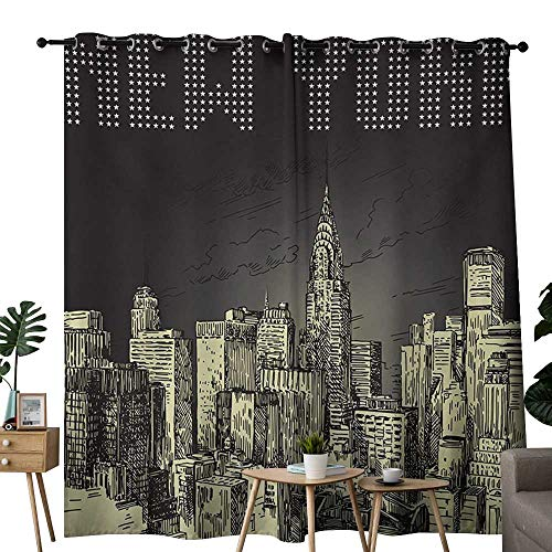 NUOMANAN Grommet Curtains New York,Grunge Pop Art Style Retro NYC Sky with Iconic Empire States Building City Print,Grey Yellow,Blackout Draperies for Bedroom Window -