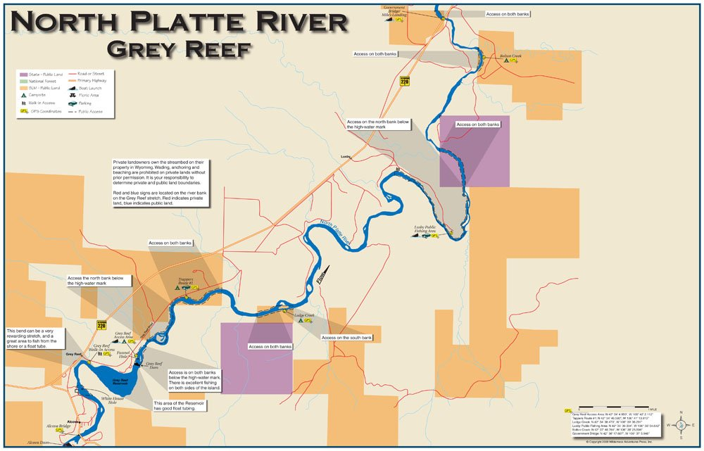 Amazoncom  North Platte River Grey Reef 11x17 Fly Fishing Map