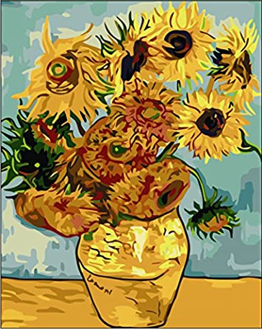Tonzom Paint by Numbers Kits Diy Canvas Oil Painting for Kids, Students, Adults Beginner - Sunflower by Van Gogh 16 x 20 inch with Brushes and Acrylic Pigment (Acrylic Paint Van Gogh)