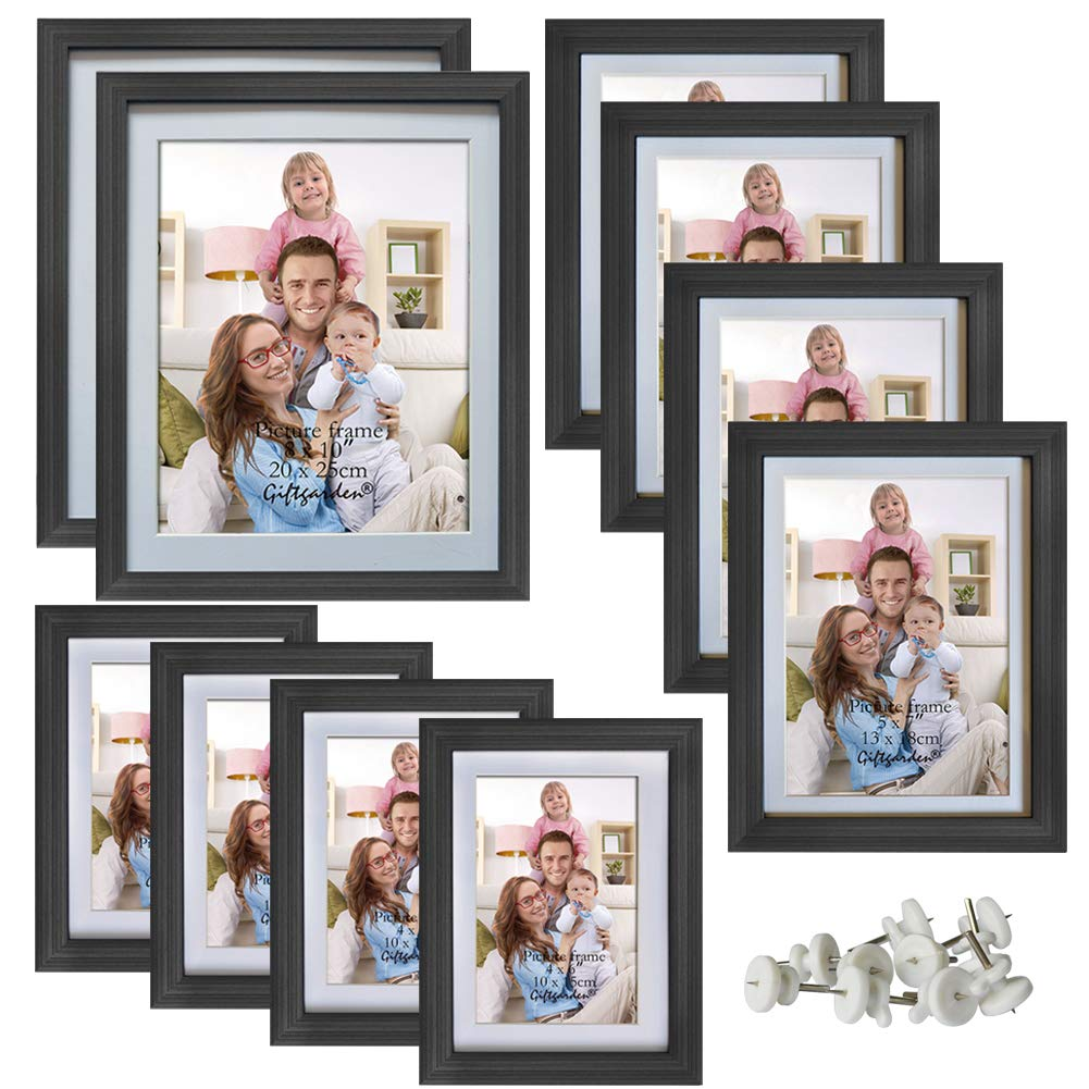 Giftgarden Multi Picture Frames Set Black Photo Frame for Multiple Photos, 10 Pcs, Two 8x10, Four 4x6, Four 5x7 by Giftgarden
