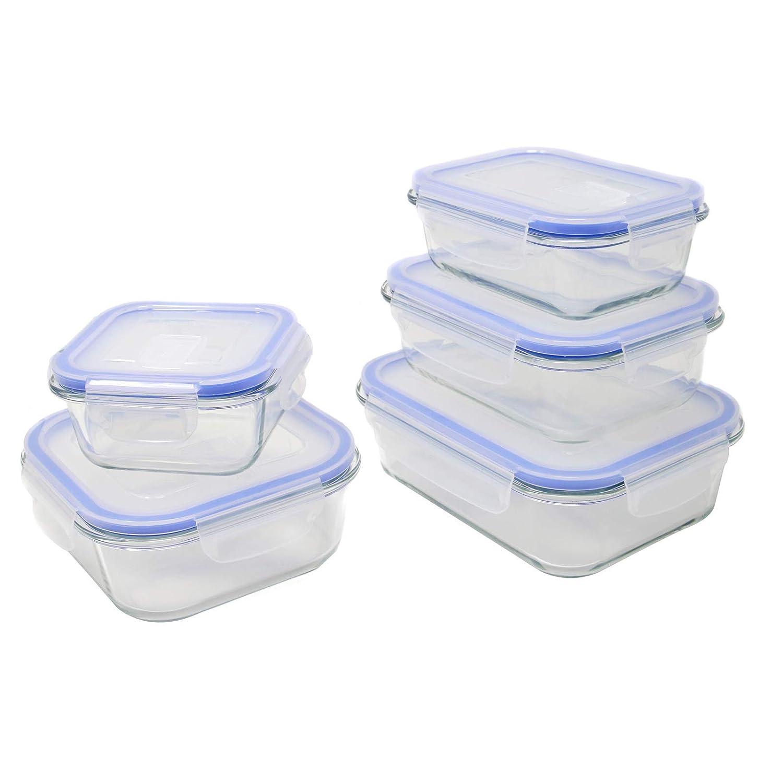 5/x bacs de verre micro-onde sans BPA Snap verrouillage couvercles avec commutateur de ventilation Lot de 5/Assortis herm/étique r/écipient /à nourriture M /& L lave-vaisselle et au cong/élateur