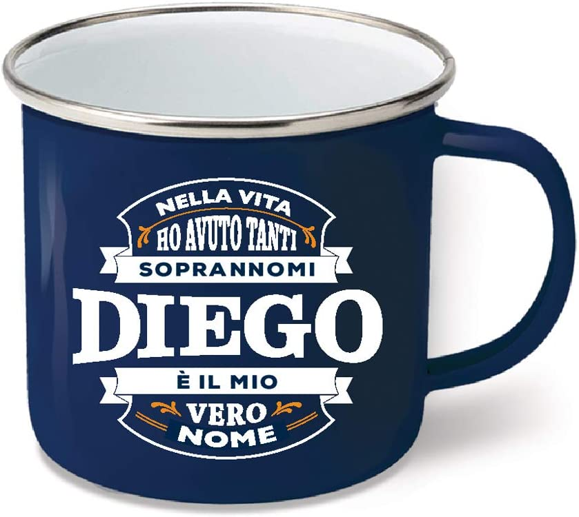 Diego CLEARCO SRL Tazza in Metallo SMALTATO con Dedica BM046 Nome Top Bloke