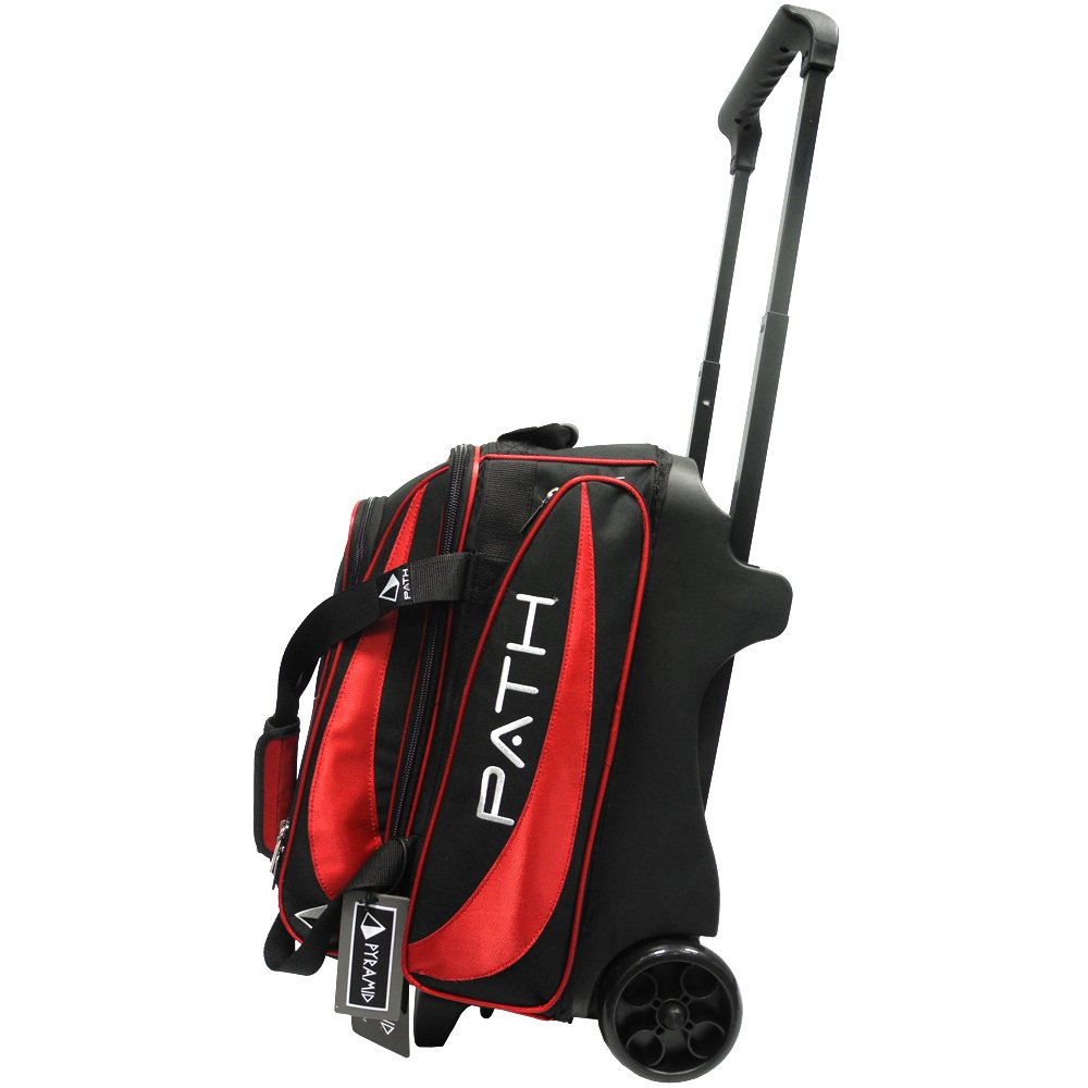 Pyramid Path Premium Deluxe Double Roller Bowling Bag (Black/Red)