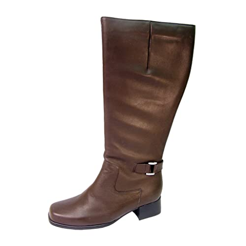 12c4b03c4f4 Peerage FIC Becca Women Wide Width Fleece Lined All Leather Knee High  Riding Boots Brown