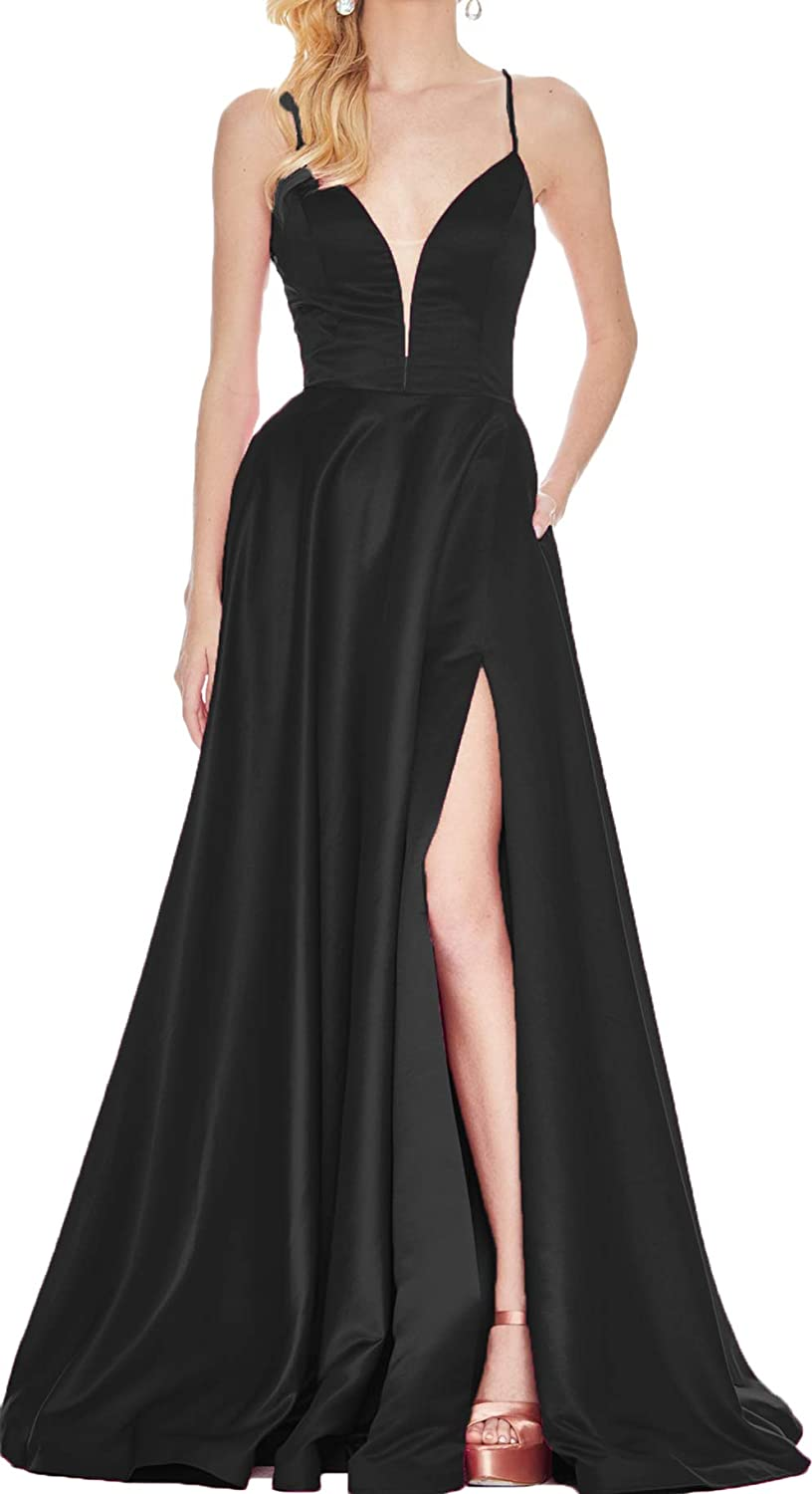 Black Rmaytiked Womens V Neck Spaghetti Strap Prom Dresses Long Side Slit Backless Formal Evening Ball Gowns with Pockets