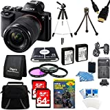 Sony 24.3 MP a7K ILCE-7K/B ILCE7 ILCE7KB Full-Frame Interchangeable Digital Lens Camera with 28-70mm Lens Bundle 2 64GB Memory Cards, 59'' Tripod, 2 NP-FW50 Camera Batteries, Carrying Case, 55mm Filter Kit, Memory Card Wallet, 57-in-1 Card Reader + more