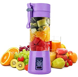 Personal Juice Blender, Electric USB Juicer Extractor for Shakes, Smoothies and Food Prep Portable Juice Machine with 4 Blades, 2000mAh Rechargable Battery