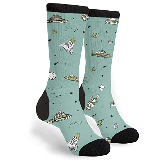 17e685713e7b Image Unavailable. Image not available for. Color: Women's Men's Fun  Novelty Crazy Crew Socks UFO Of Hyperspace Spacecraft Dress Socks