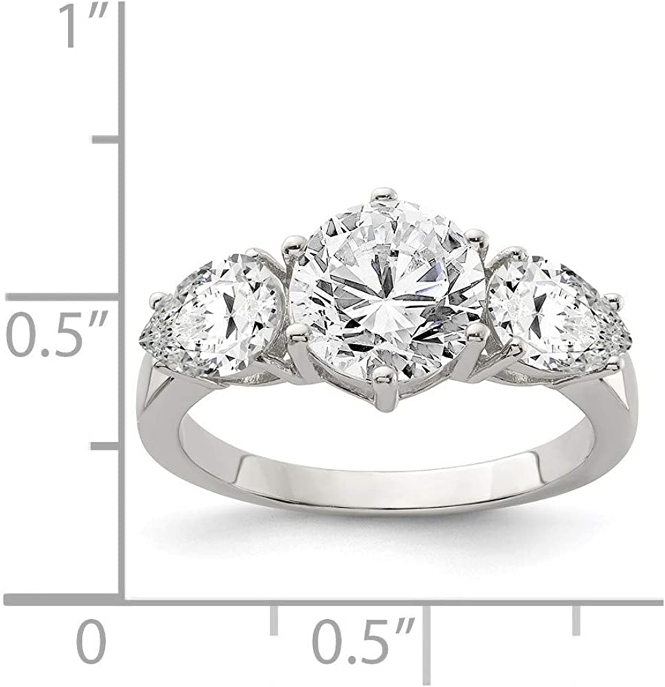 Solid 925 Sterling Silver CZ Cubic Zirconia Wedding Engagement Ring
