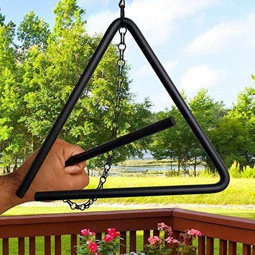 Dist By Classyjacs - Heavy Tempered Steel - Triangle Chuck Wagon - Dinner Bell - Hung By A Chain - (Black Powder - Coated Finish -Outdoor or Indoor Use)