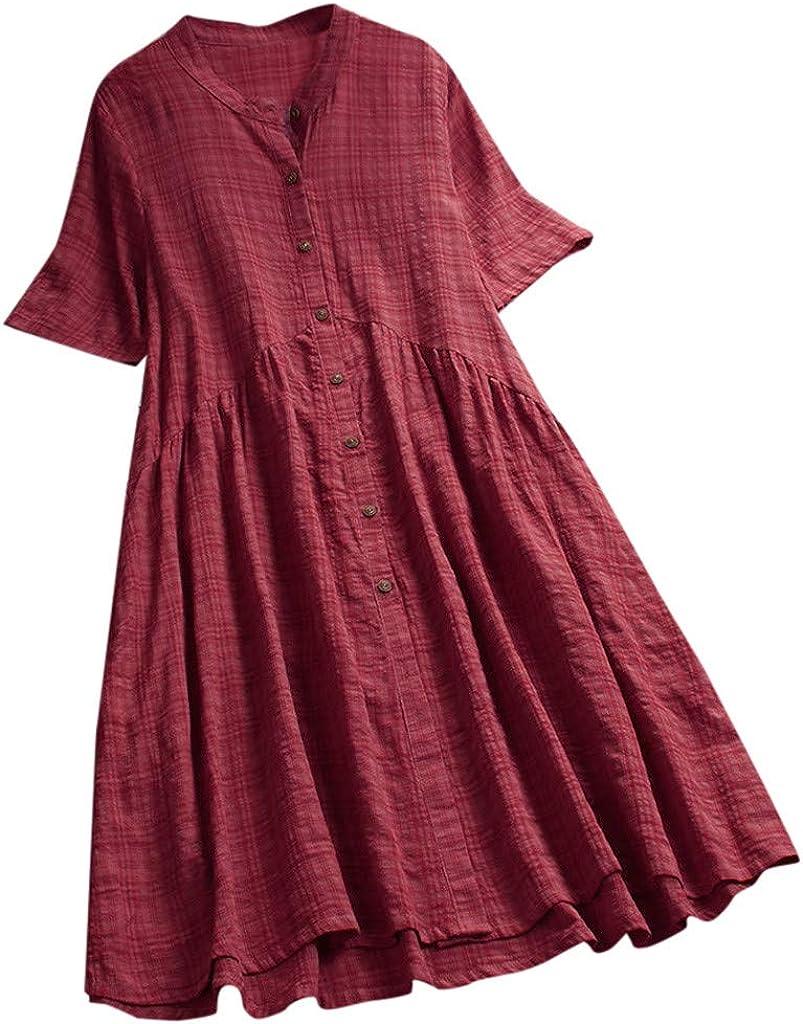 iQKA Vestido Women Plus Size Shirt Dress Vintage Casual O-Neck Short Dress Short Sleeve Button Mini Dress