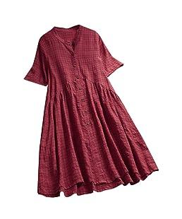 GoodLock (TM) Hot!! Women Plus Size Shirt DressLadies Summer Vintage Casual O-Neck Short Sleeve Button Beach Loose Dress (Wine, 2X-Large)