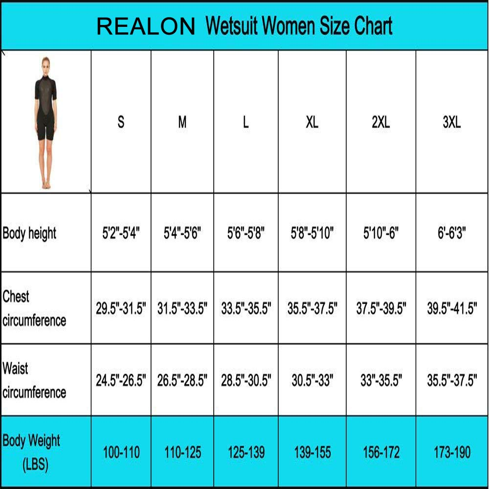 Realon 2mm Shorty Wetsuit Women CR Neoprene Surfing Scuba Diving Snorkeling Swimming Suit (2mm Shorty Black, Medium) by Realon (Image #2)