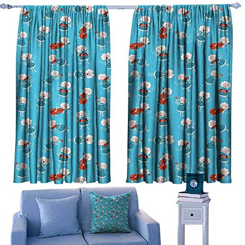 (Mannwarehouse Angel Bedroom Balcony Living Room Curtain Music Angels Playing Violin Flute Kazoo Saxophone Trumpet Elf Harp Cello Fantasy for Living, Dining, Bedroom (Pair) 55