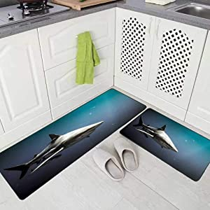 Doocilsh Kitchen Rugs,Kitchen Rugs Washable for Women and Men,17X48+17X24Inches Oceanic Shark and Fish Underwater in South Africa Carcharhinus Limbatus Remora Natal Kitchen Rug